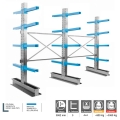 Cantilever porta profili alluminio 3 colonne Bifronte