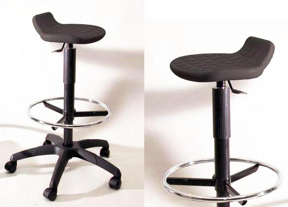 Sgabello in poliuretano sedile e poggiapiedi regolabili