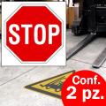 Pittogramma autoadesivo da pavimento STOP