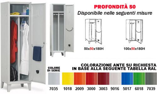 Armadio Spogliatoio Sporco Pulito Prezzi.Armadietto Sporco Pulito Serie 50