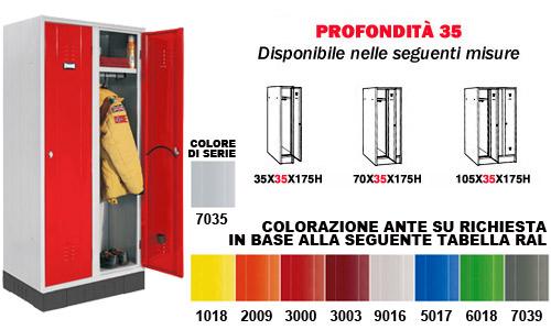 Dimensioni Armadietti Per Spogliatoi.Armadietto Spogliatoio Su Zoccolo Serie 35