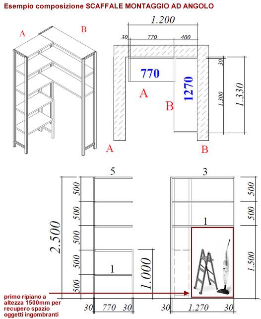 Scaffalature Metalliche Dimensioni.Scaffale Montaggio Ad Angolo
