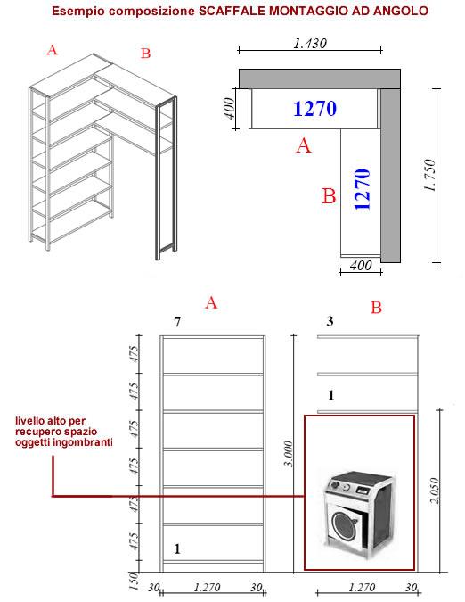 Scaffale per sgabuzzio,garage,cantina in acciao con struttura ad ...