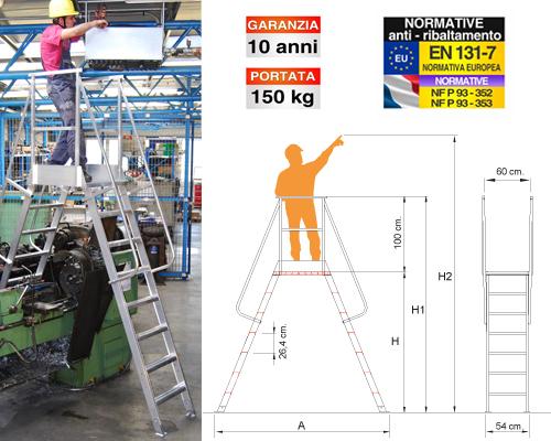 Scala in alluminio professionale con piastre di fissaggio al suolo