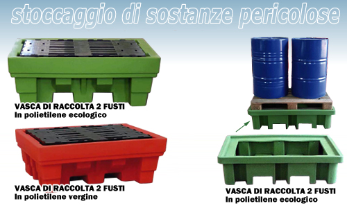 Vasche di raccolta in plastica per 2 fusti in acciaio for Vasche per tartarughe in plastica